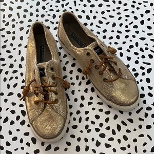 NWOT Sperry Topsider Gold Sparkly Sneakers